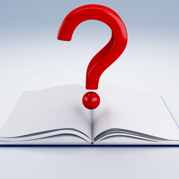 image of Open book and a question mark 3d illustration